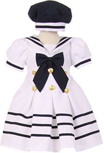 Mini White Satin Sailor Hat - Baby & Infant Pleated Sailor Hat Dress with Striped Gold Button White 24M 10.05