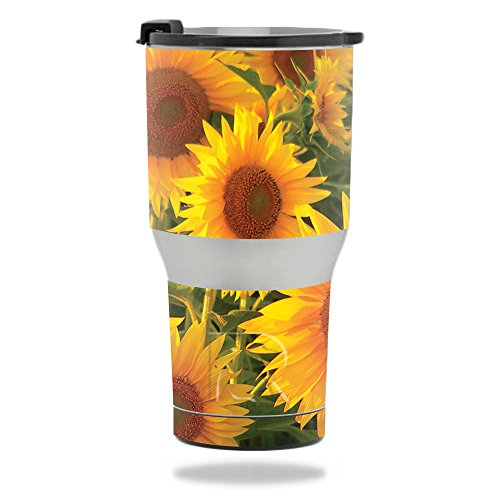 (MightySkins Skin Compatible with RTIC Tumbler 20 oz. (2017) - Sunflowers | Protective, Durable, and Unique Vinyl Decal wrap Cover | Easy to Apply, Remove, and Change Styles | Made in The USA)