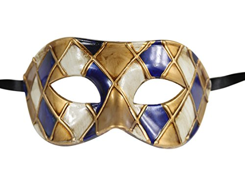 Luxury Mask Men's Vintage Design Masquerade Prom Mardi Gras Venetain, Blue/Gold Checkered, One Size