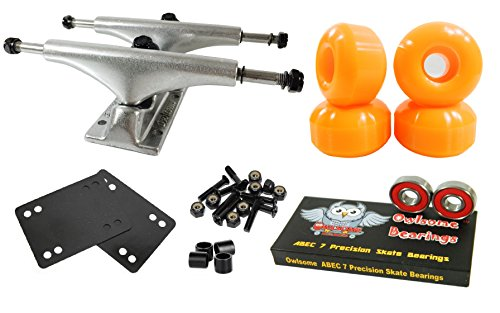 Luxury Alloy Wheels - Owlsome 5.25 Polished Aluminum Skateboard Trucks w/52mm Wheels Combo Set (Orange)