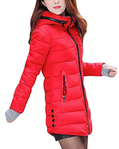 Léger Longue Rouge Manteaux Veste Duvet Femme Capuche Ultra Avec Parka Mince OWqAaUa1w