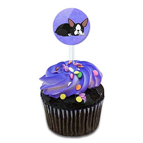 Boston Terrier Plates (Sleepy Boston Terrier Cake Cupcake Toppers Picks Set)