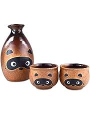 Mino Ware Traditional Japanese Sake Set, Tokkuri Bottle and 2 Ochoko Cups, Tanuki Japanese Racoon Dog