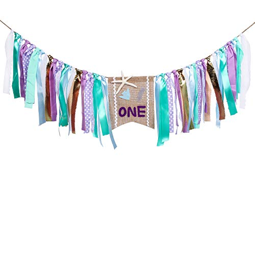 HighChair Banner for 1st Birthday, Mermaid Theme First Birthday Banner,Burlap Banner for 1st Birthday Decorations - Best Party Supplies and Gifts for Kids -