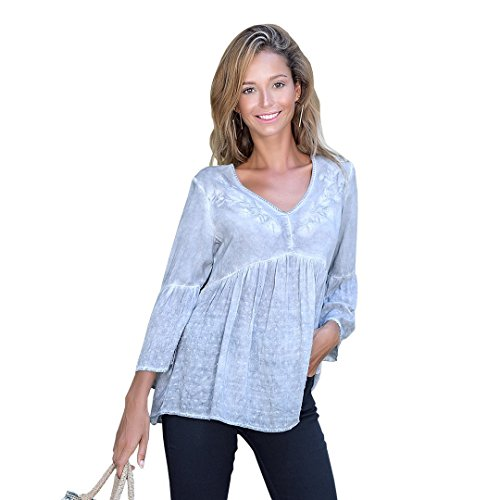 OneWorld Bell Sleeve V Neck Embroidered Woven Blouse Tunic Top for Women and Ladies (Woven Sleeve Shirt)