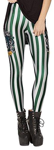 QZUnique Women's Green and White Flourescent Stripe Print Shaping -