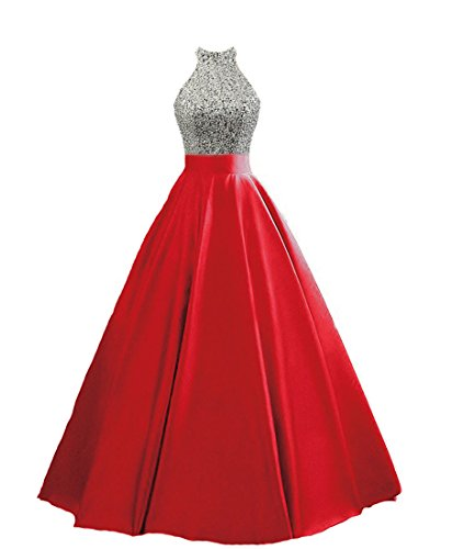 HEIMO Women's Sequined Keyhole Back Evening Party Gowns Beaded Formal Prom Dresses Long H123 12 Red -
