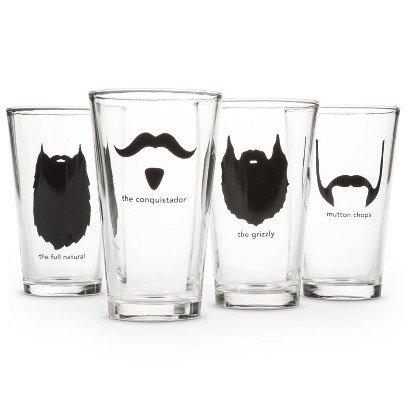 (Mustache Pint Glass Set)