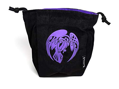 Microfiber Large Dice Bag   Truly Reversible with Raven Image on Each Side   Stands Up on its Own and Holds 200+ Dice - Large Dice Bag