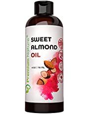 Sweet Almond Oil Carrier Oil - Cold Pressed Body Massage Oil Carrier Oil for Essential Oils Mixing, Baby Oil Skin Face Moisturizer Eye Makeup Remover 4 oz