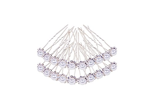 Beaute Naturel Silver Hair Pins with Crystal and Pearl | Wedding, Bridal, and Formal Hair Accessories Clips for Brides and Bridesmaids, Set of 20