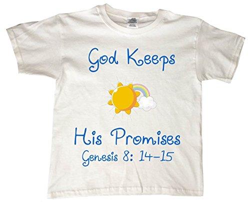 GOD KEEPS HIS PROMISES - YELLOW SUN - BigBoyMusic Youth Designs - White T-shirt - size Large (14-16) -