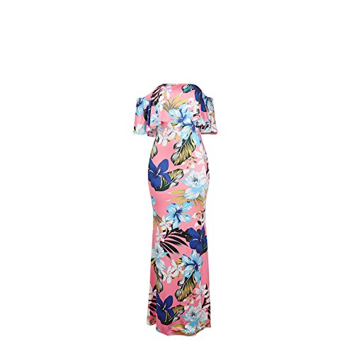 Lkous Long Off Pink Boho Maxi Ruffle Light Women's Dresses Print Shoulder Floral FfwBTqFx