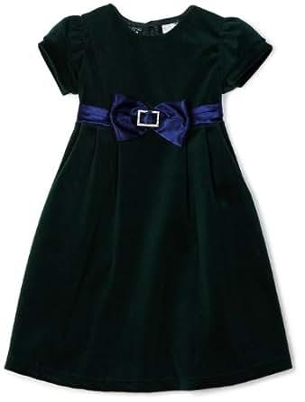 So La Vita Little Girls' Toddler Velvet Dress with Sash, Green, 3T
