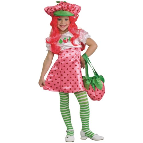 Strawberry Shortcake Deluxe Children's Costume, Small (Shortcake Strawberry Shorts Satin)