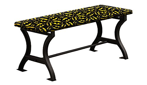 """Universal Bench Wood and Metal 18"""" Tall with a Padded Seat Cushion Featuring Your Favorite Novelty Themed Fabric (Batman Logo on ()"""