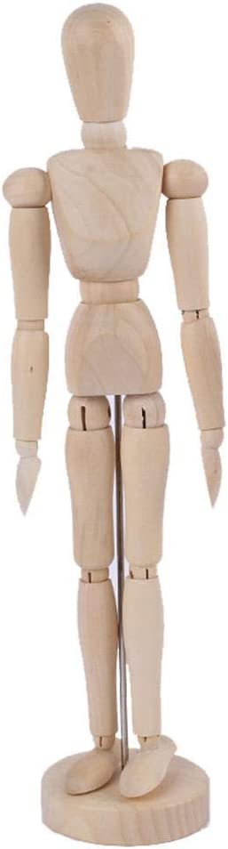 7°MR Maniquí de madera Muñeca Articulada Modelo Pintura Artista Dibujo Bosquejo Maniquí Casa Figuras Miniaturas Decoración (Size : L 8 inches)