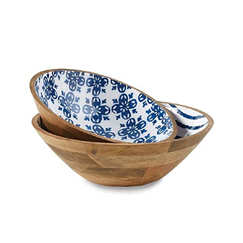 Enamel Mango (Mud Pie Porto Wood and Enamel Bowl Set of 2)
