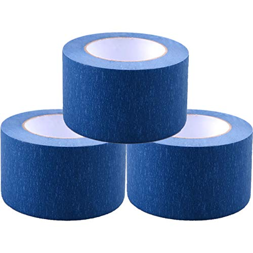 Painters Tape 3pk 2'' x 60 yd | Professional Blue Painters Masking Tape | Easy and Clean Removal | Multi Surface Use | ISO 9001 Worldwide Quality | Leaves No Residue Behind | (48mm .1.88in) (3 Pack) by DoAy