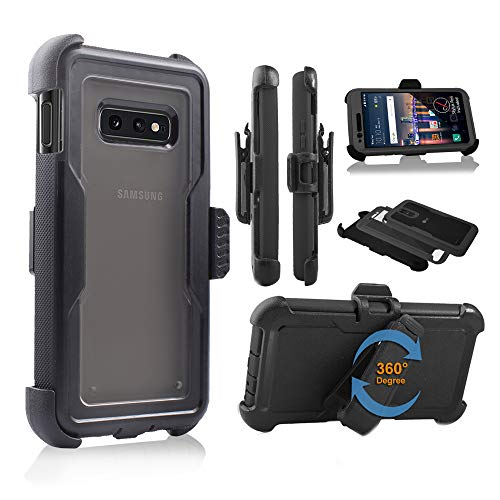 Galaxy S10E Case SM-G970, Full Body Rugged Holster Explorer Tough Armor Case with Swivel Belt Clip & Built in Screen Protector Clear Cover fit for Samsung Galaxy S10e/ S10e Lite 5.8