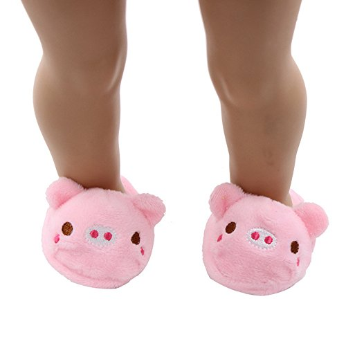 AMOFINY Cartoon Animal Plush Slipper Fits 18 Inch Girl Doll Clothes Accessories (Pig) for $<!--$2.37-->