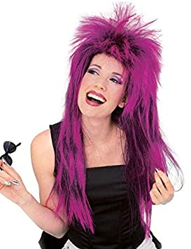 Rock Star peluca púrpura de neón