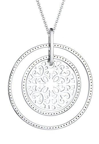 Elli de chaîne pour femme avec pendentif en argent 925 orné de cristaux décoratifs blanc brillant 80 cm - 0103571015_80
