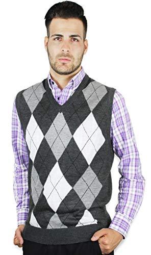 Blue Ocean Men's Argyle Sweater Vest-Medium