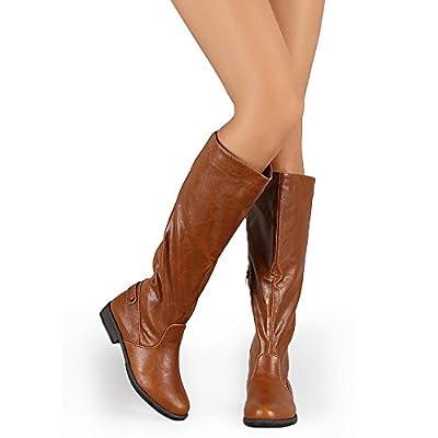 Womens Side Zipper Equestrian Elastic Back Round Toe Panel Knee High Riding Boots WestCoast