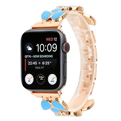 Classy Stainless Steel Bracelet Wristband Dressy Fancy Jewelry Bangle Cuff Link Band Compatible for Apple Watch Band 38mm/40mm 42mm/44mm Series 4 3 2 1 (Blue Leaf, 42MM)
