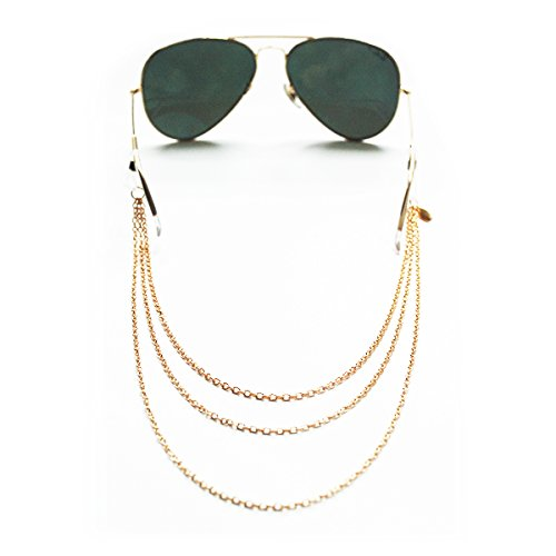 Sintillia Chain Lace Statement Sunglass Strap, Glasses Chain, Eyeglass Cord, Gold (Gold with Clear - Croakies Cute