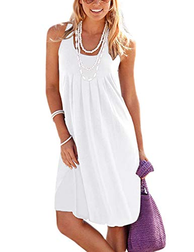 - Jouica Women's High Waist Boho Floral Print Cotton Casual Sleeveless Short Dress(White,XL)