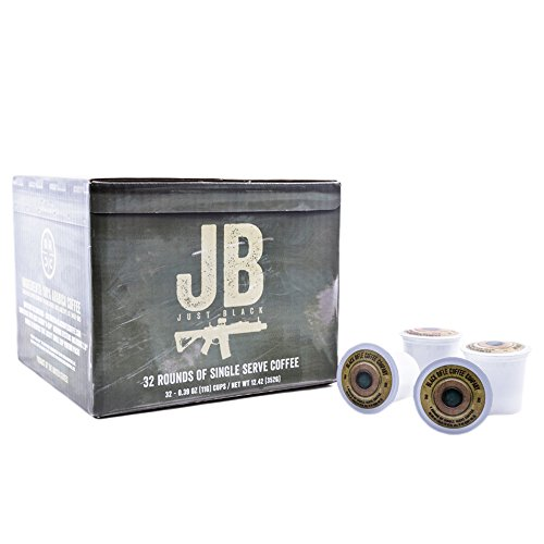 Company Single - Black Rifle Coffee Company JB Just Black Coffee Rounds for Single Serve Brewing Machines (32 Count) dark Roast Coffee Pods Cups