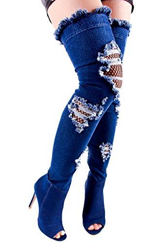 Lolli Couture Denim Open Teen, Uitgesneden Visnet Ontwerp Rits Over De Knie Stiletto Hoge Hakken Laarzenschoenen Darkbluedenim-m01-67