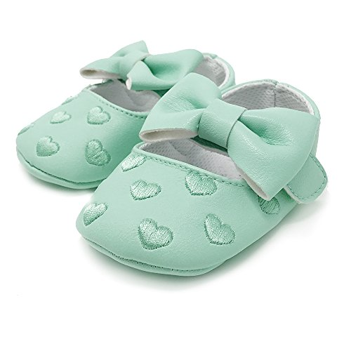 FRILLS Infant Toddlers Baby Boys and Girls Soft Soled Fringe Crib Shoes PU Moccasins - Mint Heart (for ages 0-6 months/11 cm length)