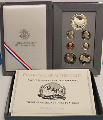1991 US Mint Prestige Proof Set Original Government Packaging (Silver Vintage Coin Set)
