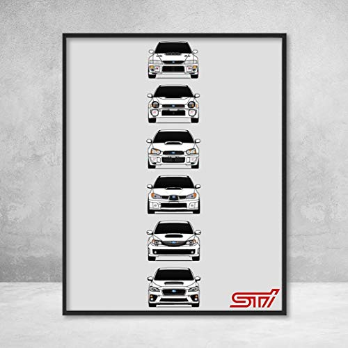 (Subaru WRX STI Poster Print Wall Art of the History and Evolution of the Subie STI Generations (White Cars))