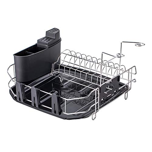 - VESLA HOME Deluxe Chrome-plated Stainless Steel Metal Small Dish Drainers Stylish Sturdy Wire Medium Dish Drainer Drying Rack