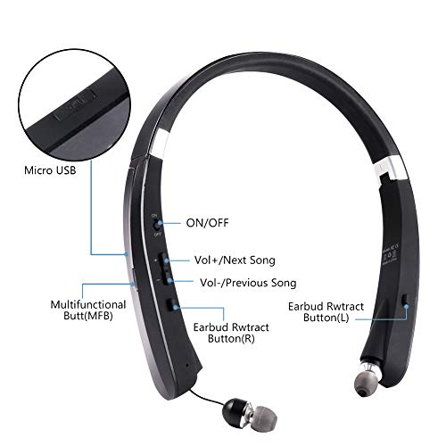 AJJHOMER Auriculares inalámbricos Bluetooth con Bajos Profundos, Almohadillas de Protección Cómodo,Cascos inálambrico Deportivos, tecnología de Ruido de ...