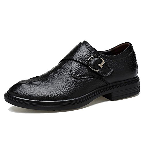 SONGYUNYAN Herren Krokodil Muster von England Seite Schnallenschuhe Oxford Kleid , black , 43