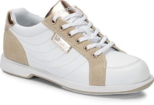 Dexter Groove IV - Weiß/Nubuck/Rose Gold - extra Breit - Bowling-Schuhe Damen, für Rechts- und Linkshänder in den Schuhgrößen 36-41 und Mein-Bowlingshop Schuhtasche im Set Größe 37