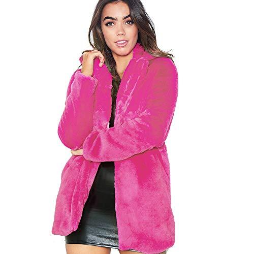 Fur Coat Parka Jacket Long Trench Winter Warm Tops Outerwear Overcoat Plus Size(Hot Pink,XXXL) ()