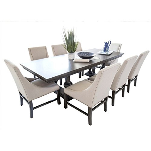 Abbyson Living Breckenridge 9 Piece Dining Set In City Gray