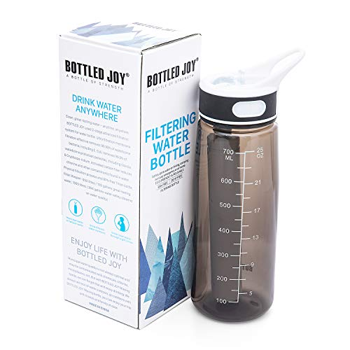 (BOTTLED JOY Filtering Water Bottle, 27oz Water Bottle with Replaceable 2-Stages Filter BPA Free Hollow Fiber Membrane Filter Reusable Straw for Hiking Camping Backpacking Hunting and)