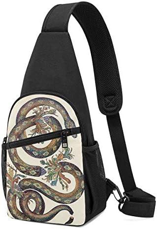 蛇の柄 斜め掛け ボディ肩掛け ショルダーバッグ ワンショルダーバッグ メンズ 多機能レジャーバックパック 軽量 大容量
