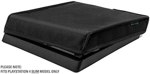Playstation 4 Slim Model Dust Cover by Foamy Lizard ® THE ORIGINAL MADE IN U.S.A. TexoShield (TM) premium ultra fine soft velvet lining nylon dust guard with back cable port (Horizontal)