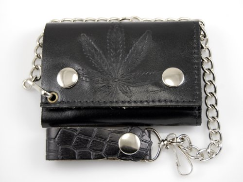 Biker-Chain-Wallet-Genuine-Leather-Marijuana-Tri-Fold