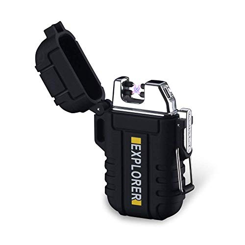 Outdoor Camping Windproof Lighter - Plasma Beam Dual Arc Lighter - USB Rechargeable - Camping Waterproof Fire Starters