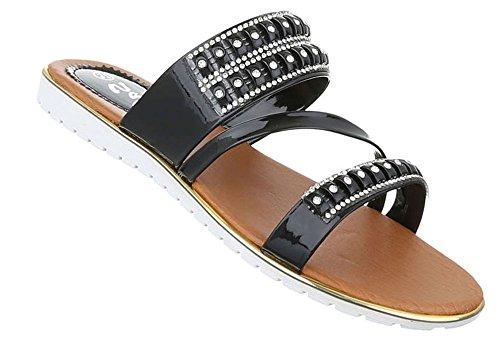 Damen Sandalen Schuhe Pantoletten Strandsandalen Schwarz Gold Silber 37 38 39 40 41 42 Schwarz