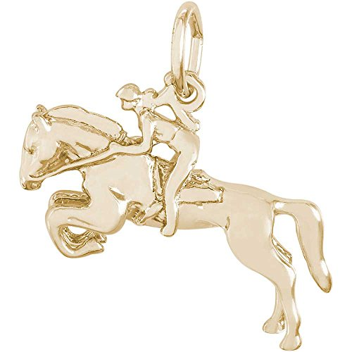 Rembrandt Charms Horse & Rider Charm, Gold Plated Silver (Gold Charm Horse Rembrandt Plated)